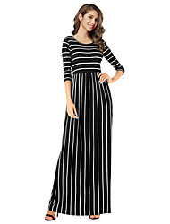 cheap -Women's Holiday Sexy A Line Maxi Dress,Striped Lace Round Neck Long Sleeves Spring High Waist