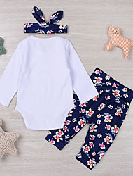 cheap -Baby Girls' Daily Sports Floral Clothing Set,Cotton Spring Fall Cute Casual Long Sleeve White