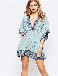 cheap -Women's Plunging Neckline Cover-Up - Geometric, Embroidery