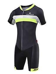 cheap -Malciklo Men's Short Sleeves Tri Suit - Green/Black British Geometic Bike Quick Dry, Breathable, Spring Summer, Lycra