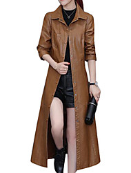 cheap -Women's Daily Casual Winter Fall Leather Jacket,Solid Shirt Collar Long Sleeve Long PU
