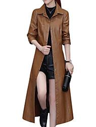 abordables -Veste de cuir Femme,Couleur Pleine Quotidien Décontracté Hiver Automne Manches longues Col de Chemise Longue Polyuréthane