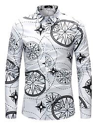 baratos -Homens Camisa Social Diário Simples Primavera Outono Poliéster Colarinho de Camisa Manga Longa