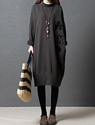 abordables -Femme Quotidien Sortie Décontracté Mi-long Robe Ample Tee Shirt Basique Lettre Col Roulé Manches Longues