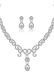 baratos -Mulheres Zircônia Cubica Gema Zircão Prata Chapeada Conjunto de jóias 1 Colar Brincos - Formal Roupas de Festa Forma Geométrica Caído