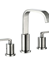 cheap -Bathroom Sink Faucet - Waterfall Nickel Brushed Widespread Two Handles Three Holes