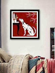 abordables -Animaux Bande dessinée Illustration Art mural,Plastique Matériel Avec Cadre For Décoration d'intérieur Cadre Art Salle de séjour