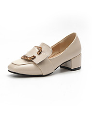 baratos -Mulheres Sapatos Couro Ecológico Outono Conforto Botas da Moda Botas Salto Robusto Dedo Apontado Botas Cano Médio Ziper para Casual Preto