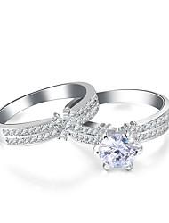 preiswerte -Damen Kubikzirkonia / Strass Blume Bandring - 2pcs Unendlichkeit Retro / Elegant Silber Ring Für Hochzeit / Verlobung / Zeremonie