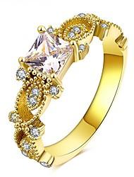 preiswerte -Damen Kubikzirkonia / Strass Gold Blume Bandring - Kreisform Retro / Elegant Gold Ring Für Hochzeit / Party