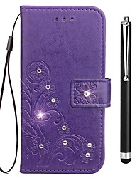 baratos -Capinha Para Vivo X20 Plus X20 Porta-Cartão Carteira Com Strass Com Suporte Flip Com Relevo Capa Proteção Completa Flor Rígida PU Leather
