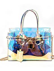baratos -Mulheres Bolsas PU Bolsa de Ombro Ziper Azul Céu