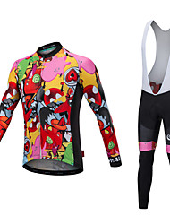 cheap -Malciklo Men's Long Sleeve Cycling Jersey with Bib Tights - White / Black Bike Clothing Suit, Thermal / Warm, Quick Dry, Anatomic Design Lycra / Stretchy / High Elasticity / Reflective Strips