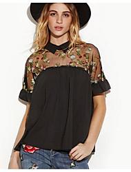 Недорогие -Жен. Сетка Вышивка Блуза, Рубашечный воротник Уличный стиль Цветочный принт