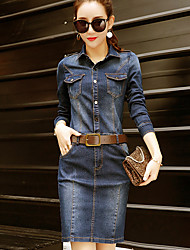 cheap -Women's Work Sophisticated Street chic Sheath Denim Dress - Solid Colored Shirt Collar