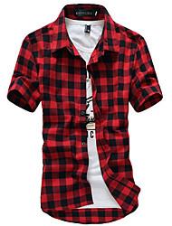 Недорогие -Муж. Повседневные Рубашка, Рубашечный воротник Уличный стиль В клетку Короткие рукава Полиэстер