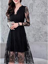 Недорогие -Жен. Большие размеры Хлопок Кружева Платье - Сплошной цвет, Кружева V-образный вырез До колена