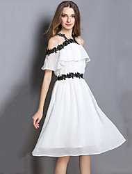 cheap -Women's Beach Boho Slim Chiffon Swing Dress - Color Block, Embroidered Off Shoulder