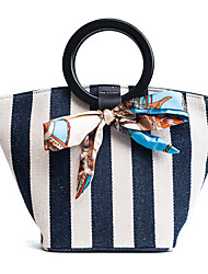 cheap -Women's Bags Canvas Tote Sashes/ Ribbons for Event/Party Casual All Seasons Blue Black