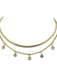 Недорогие -Жен. Слоистые ожерелья - Простой, Классический Золотой, Серебряный Ожерелье 2 Назначение Повседневные, Новый год