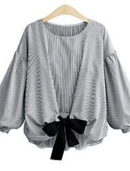 cheap -Women's Plus Size Lantern Sleeve Shirt - Striped Bow