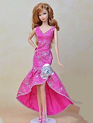 cheap -Dresses One-Piece For Barbie Doll Peach Textile Elastic Satin Dress For Girl's Doll Toy