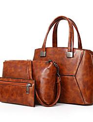 baratos -Mulheres Bolsas Couro Ecológico Conjuntos de saco 3 Pcs Purse Set Ziper para Casual Escritório e Carreira Todas as Estações Preto