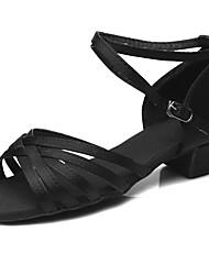 baratos -Sapatos de Dança Latina Cetim Sandália / Salto Treino Presilha Salto Robusto Personalizável Sapatos de Dança Preto