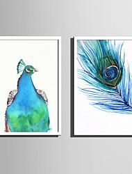 Недорогие -Холст в раме Набор в раме - Животные Мультипликация Пластик Иллюстрации Предметы искусства
