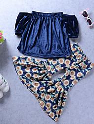 baratos -Para Meninas Conjunto Diário Feriado Sólido Floral Raiom Fofo Boho Azul Real
