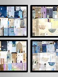 Недорогие -Холст в раме Набор в раме - Абстракция Пейзаж Пластик Иллюстрации Предметы искусства
