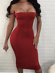 Недорогие -Жен. Облегающий силуэт Оболочка Платье - Сплошной цвет, Открытая спина С открытыми плечами