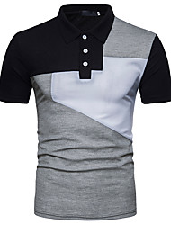 cheap -Men's Street chic Polo Shirt Collar Black & White