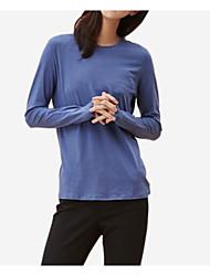 abordables -Mujer Algodón Camiseta Un Color