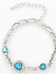 cheap -Women's Chain Bracelet - Crystal Heart Fashion Bracelet Blue / Pink / Light Blue For Daily / Going out