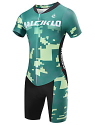 cheap -Malciklo Men's Short Sleeve Triathlon Tri Suit - Green Camouflage / British Bike Quick Dry, Breathable Coolmax® / Lycra