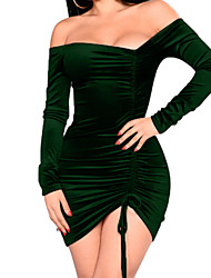 cheap -Women's Street chic Bodycon Sheath Dress - Solid Color, Pleated Mini Asymmetrical V Neck