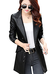 cheap -Women's Street chic Leather Jacket - Solid Colored Peter Pan Collar