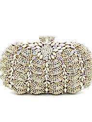 baratos -Mulheres Bolsas Metal Bolsa de Festa Detalhes em Cristal Dourado