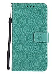 Недорогие -Кейс для Назначение Motorola G5 Plus G5 Бумажник для карт Кошелек со стендом Флип С узором Чехол Сплошной цвет Кружева Печать Твердый