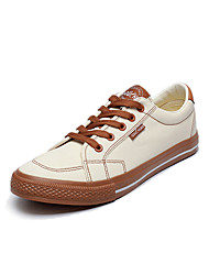 Homens sapatos Lona Primavera Verão Conforto Sapatos de mergulho Tênis Drapeado Lateral para Casual Ao ar livre Branco Preto Marron