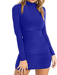 cheap -Women's Going out Basic Street chic Bodycon Sheath Dress - Solid Color Blue Mini Crew Neck