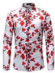 abordables -Chemise Grandes Tailles Homme, Fleur Imprimé Col Classique Mince