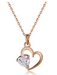 cheap -Women's Heart Cubic Zirconia Rose Gold Zircon Pendant Necklace - Classic Fashion Heart Gold Necklace For Wedding Party