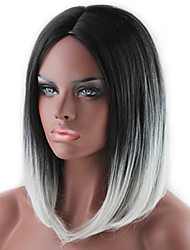 cheap -popular lady cosplay black and grey ombre color middle synthetic hair