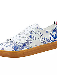Herre Sko Syntetisk Mikrofiber PU Forår Efterår Komfort Sneakers for Afslappet Sort/Hvid Hvid/Blå