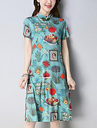 abordables -Mujer Línea A Vestido - Estampado, Floral Escote Chino