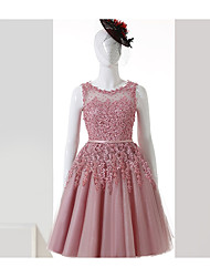 cheap -A-Line Illusion Neckline Knee Length Tulle Cocktail Party Dress with Appliques Sash / Ribbon by TS Couture®
