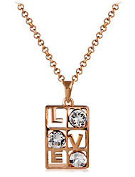 cheap -Women's Cubic Zirconia Rose Gold Zircon Pendant Necklace - Elegant Fashion Geometric Gold Necklace For Party Formal