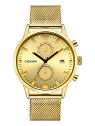 Недорогие -CADISEN Муж. Спортивные часы / Наручные часы Китайский Календарь / Секундомер / Защита от влаги Нержавеющая сталь Группа Роскошь / На каждый день Черный / Золотистый / Хронометр / Sony SR920SW